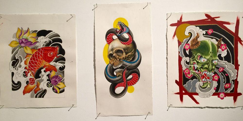 Koi, Skull Snake, and Hannya Mask / Ron Smith / Acrylic ink & watercolour