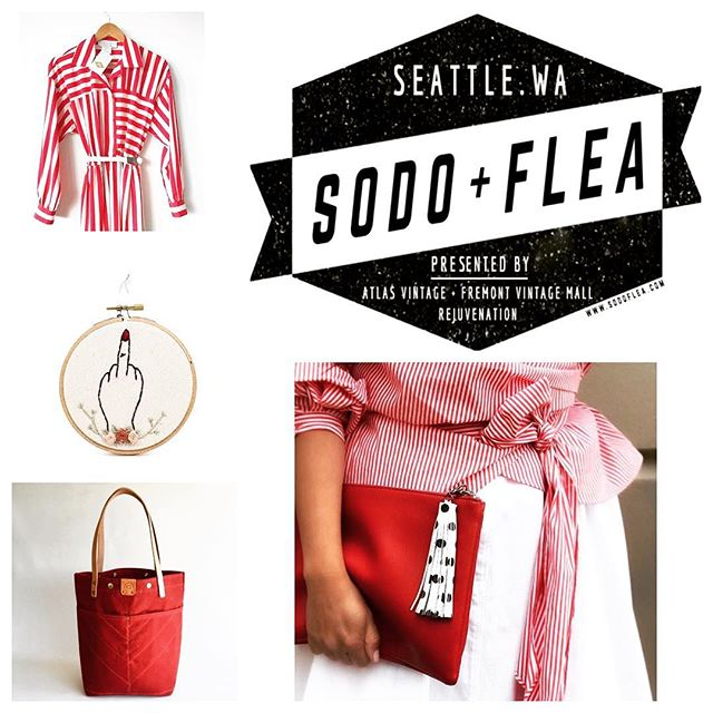 We're excited to visit some of our favorite vendors at @sodoflea this weekend! Check it out Saturday August 12th 10am-4pm  If you're vending this weekend, tag us in your set up photos and we'll try to swing by your booth to say hi! 📸: @veeisforvintage @koe.zee @cecelia_stitch @keepinitclutch . . . #seattle #pnw #fleamarket  #embroidery #handmade #handcrafted #handsandhustle  #makersmovement #red  #vintage #vintagestyle #vintagefinds #shopping #vintagelove #market #fleamarketfinds #vintageclothing #vintagecollector #lovevintage #vintagehome