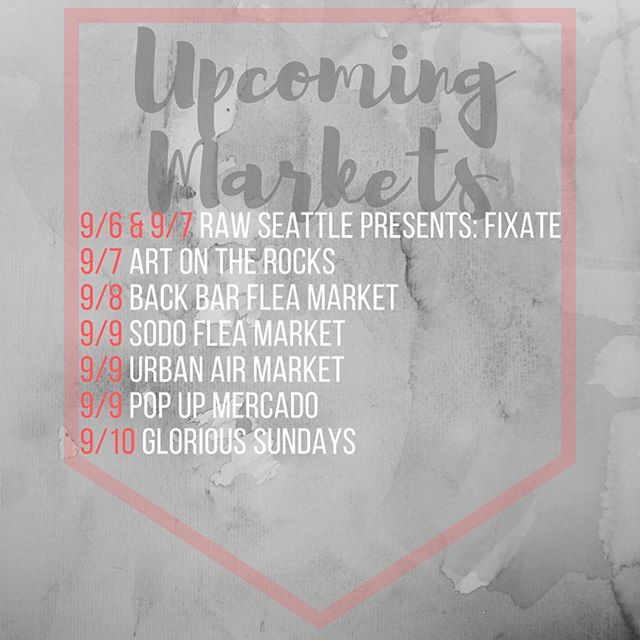 It's gonna be a fun market week! ✨✨✨ Wednesday: @rawartistsseattle  Thursday: @artontherocks206  Friday:#backbarfleamarket⠀ Saturday: @sodoflea @urbanairmarket Pop Up Mercado @colectiva_noroeste  Sunday: @glorioussundays ⠀ .⠀ .⠀ .⠀ #artwalk #seattle #pioneersquare #pnw #popupstore #handmade #handcrafted #makersgonnamake #art #shopsmall #shoplocal #makers #jewelry #crafty #handmadejewelry #popupmarket #shop #vintagefashion #makersmovement #handsandhustle #belltown  #sodo #weekend