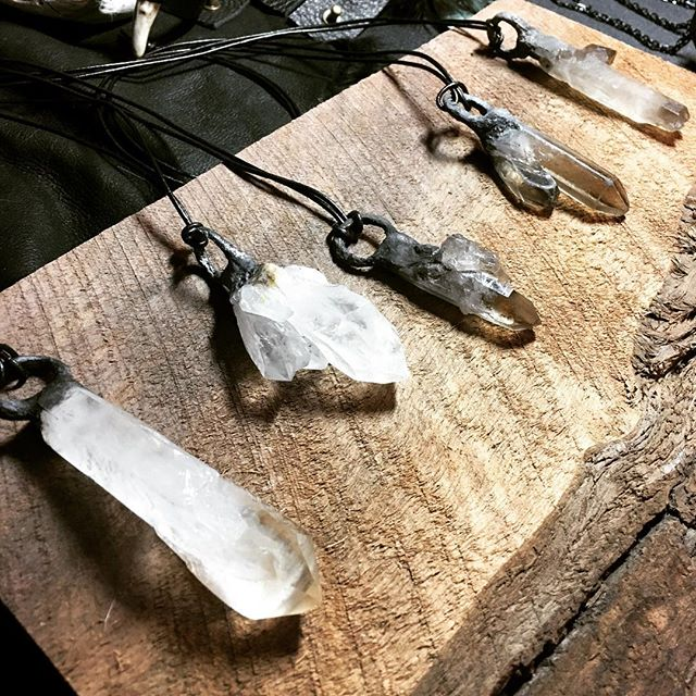 Stunning quartz pendants by @sigilbyanitaarora at @blackowlmarket yesterday. ✨✨✨ . . . #seattle #handmade #darkartists #darkart #seattlemade #makersgonnamake #supporthandmade #pnw #seattleevents #popupmarket #witchesofinstagram #witchy #blackowlmarket #goth #handmadejewelry #gothstuff #apothecary #crystals #seattleartist #seattleart #crystal #quartz