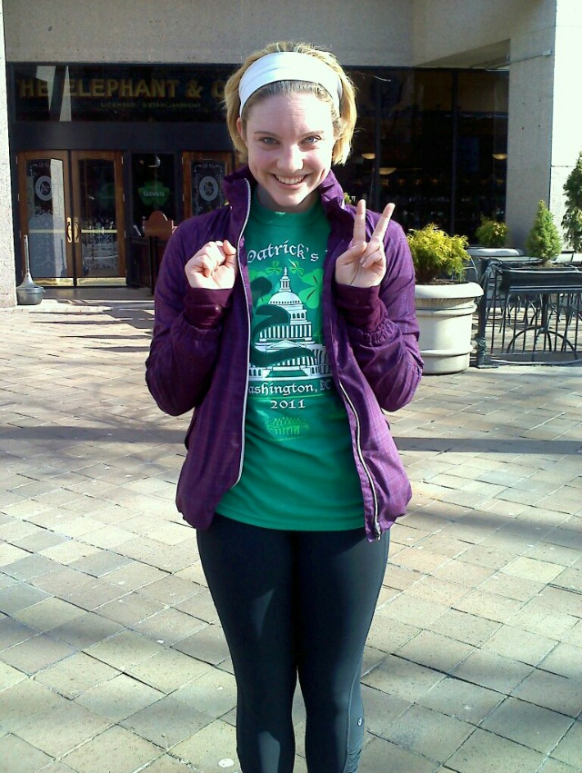 Right after I finished the St Patrick's day 10k, my first race...I take no responsibility for what symbol I'm trying to make with my hands.