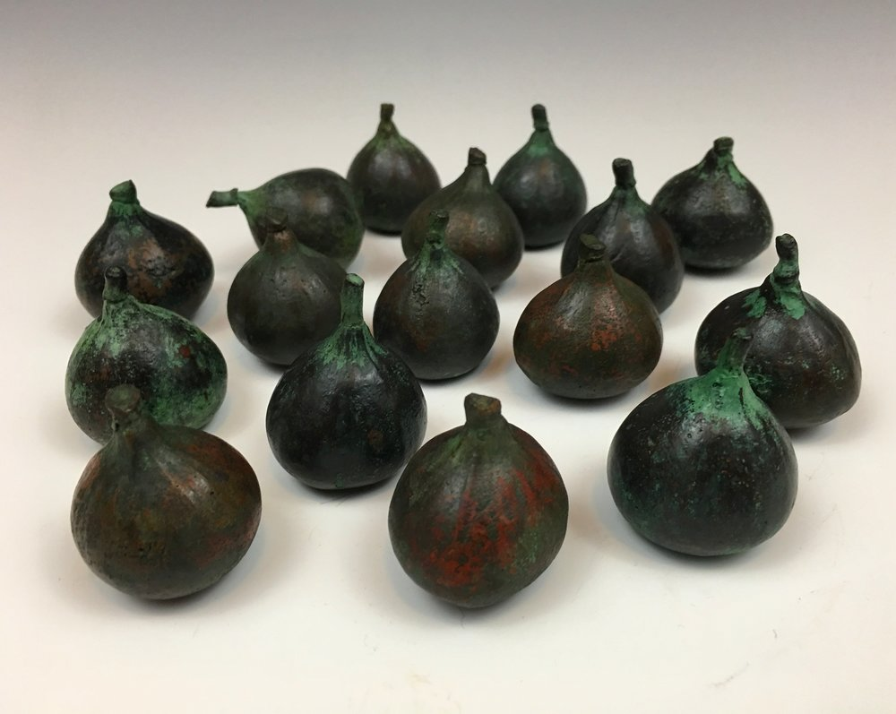 "The cast bronze figs for my piece ""Basin"" which go in the bucket with the fish now look like gem turquoise after being buried in the ground for months and stored in a damp basement. I just waxed them. I hope the rest of the piece changes beautifully. #castbronze #bronze #brooklynart #bushwickart #figs #gems #gemturquoise #waterdroplets #basin #newyorkart #cantmakethatpatina #buryit #deanhamerlystudio"