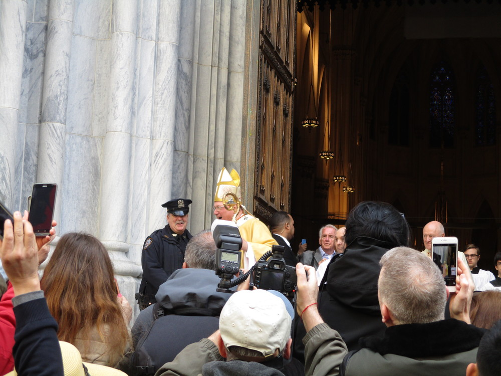 Most prominent, of course, would be His Eminence the Cardinal, briefly greeting the assembly after Mass at Saint Patrick's.