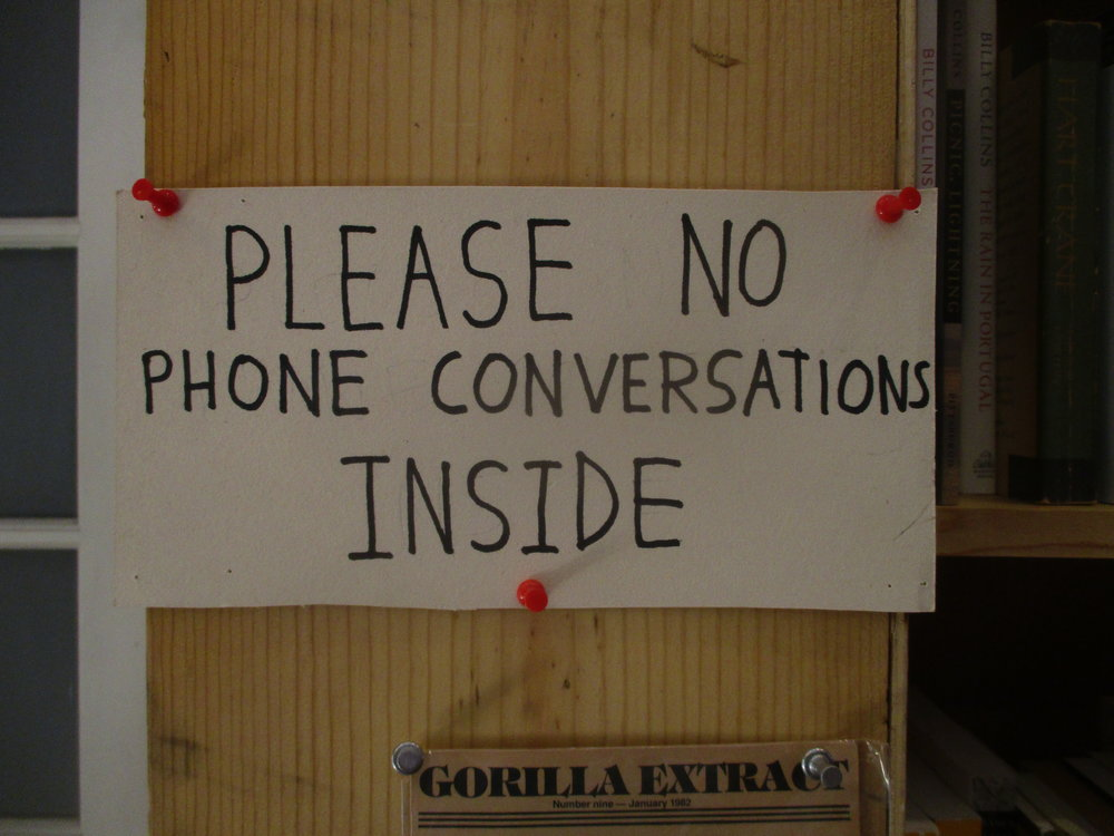 "Seen in a San Francisco bookstore. An important reminder that no one cares about your ""private"" conversation."