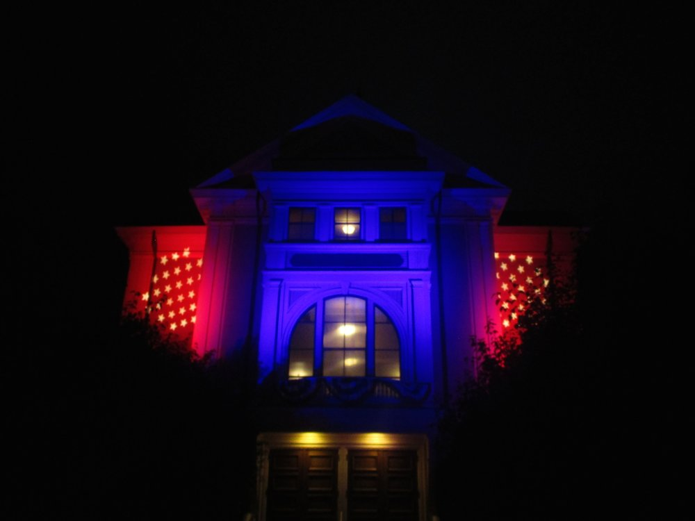 Town Hall at night.