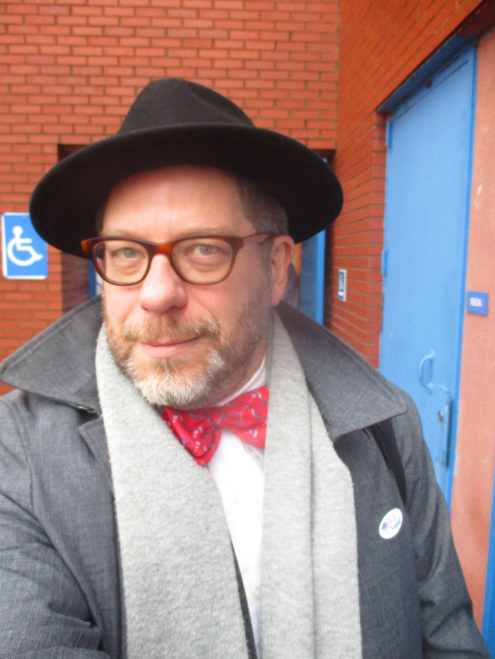 Etiquetteer's Election Day ensemble included a bow tie in the national colors.