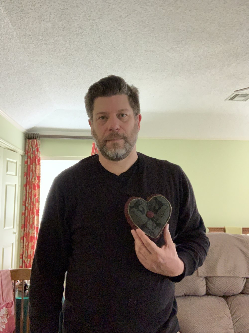 I gave this little heart-shaped cushion to Mother as a Christmas gift in the 1990s.