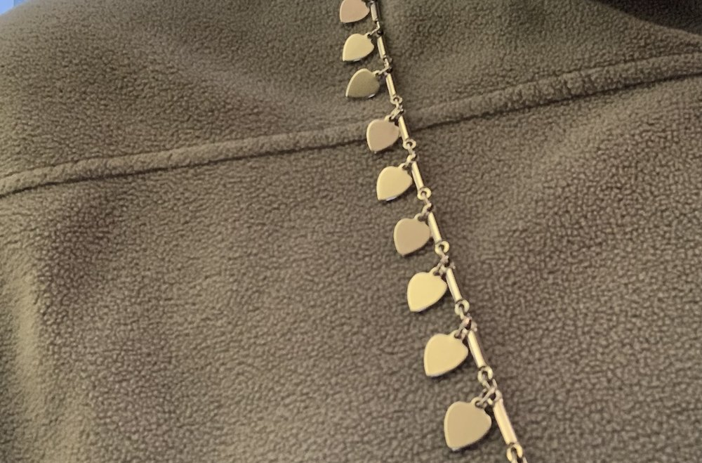 A chain of silver hearts I gave my mother when I was very small.