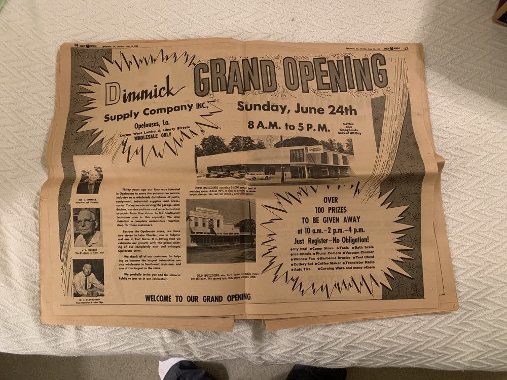 We also threw away this issue of the paper with the full spread announcing the opening of the Opelousas store. That's Uncle Hutch at bottom left, and Grampa two spots up.