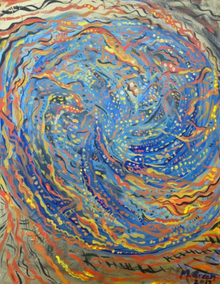 Golden World Spiral  , Acrylic on Canvas