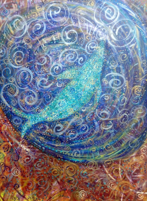 Whale Muse Mandala ,  Acrylic on Canvas