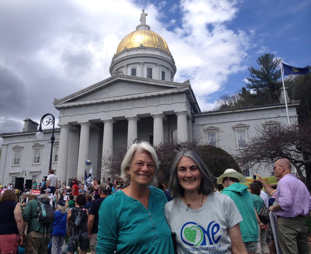 Pam Montgomery and April Thanhauser advocating for Earth Rights.