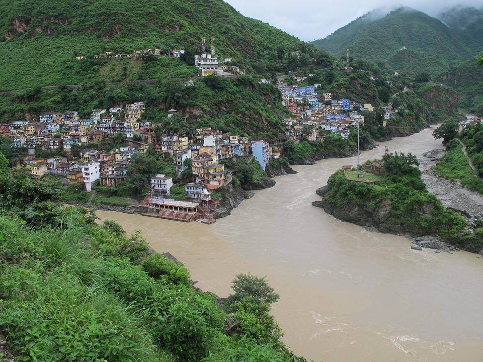 Ganges River Sacred Confluence of Alaknanda & Bhagirathi RIvers