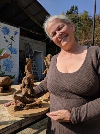 Dana with her sculpture