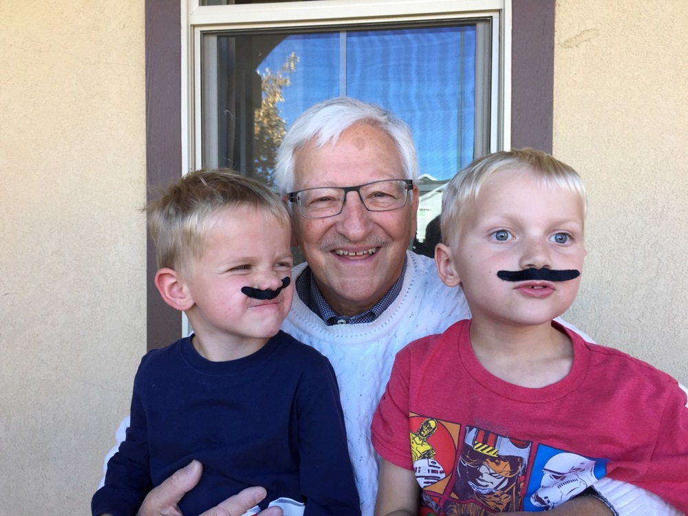 "Robert (Bob) with his grandchildren during ""Movember"" - an annual campaign during the month of November to raise awareness and money for men's health worldwide. Bob finds comfort in fundraising for research and feels it is a positive way to work through grief."