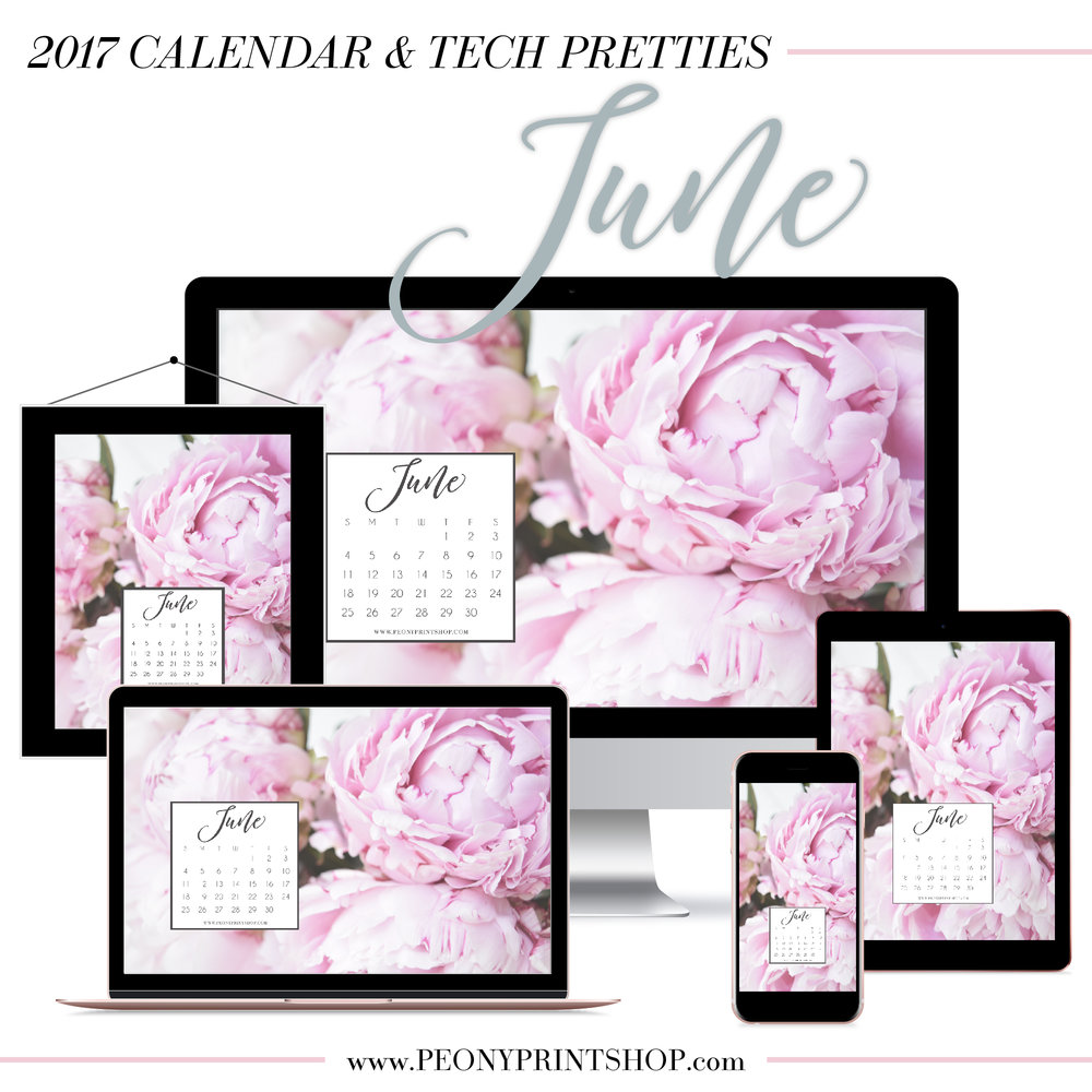 2017 June Calendar + Tech Pretties  |  PeonyPrintshop.com