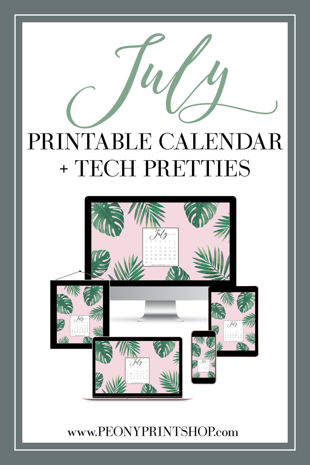 July 2017 Freebies - Printable Calendar & Tech Pretties  |  PeonyPrintshop.com | Custom Wedding Invitations & Stationery