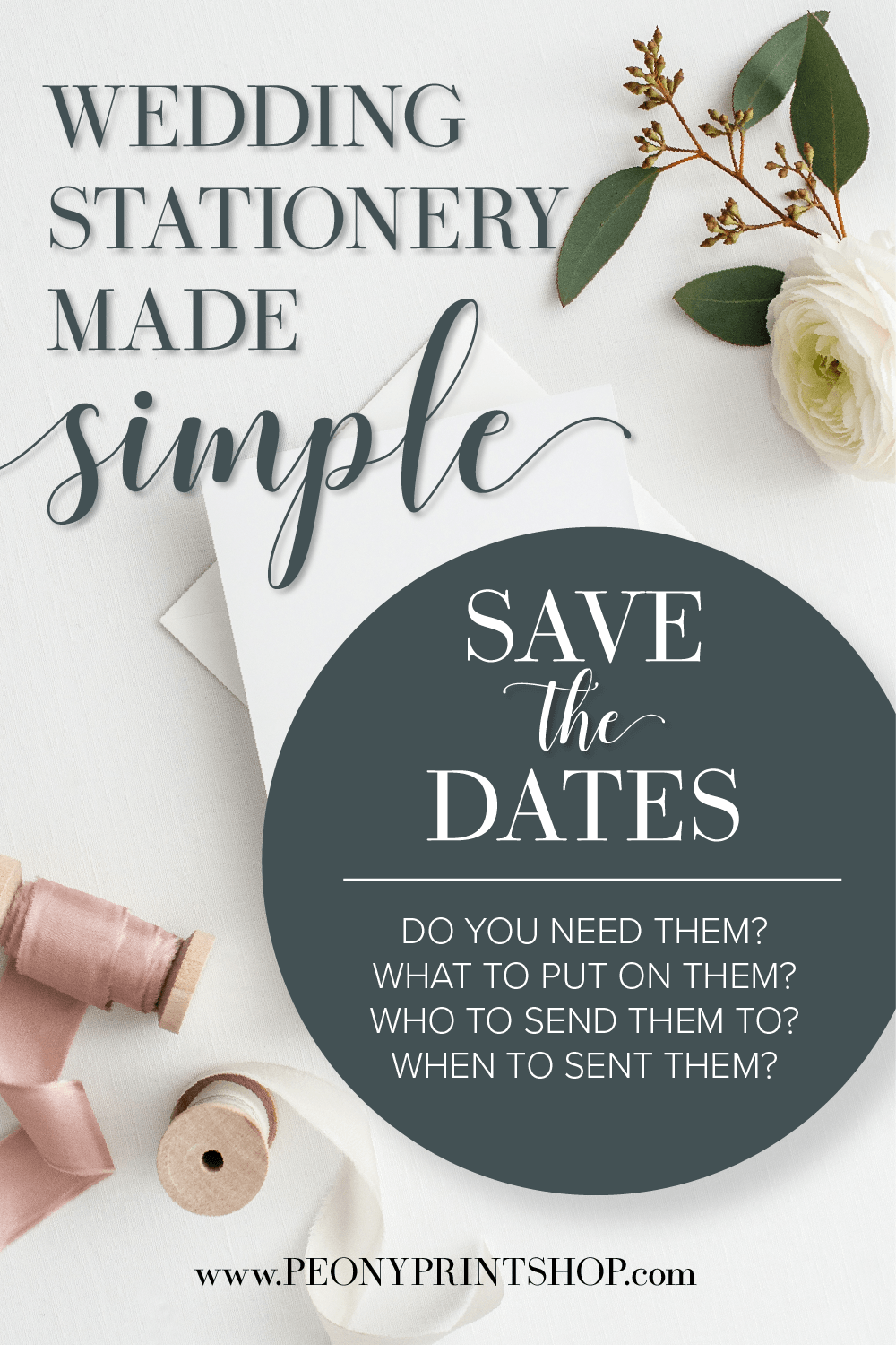Wedding Stationery Made Simple: Save the Dates | PeonyPrintshop.com | Custom Invitations, Stationery, & Gifting