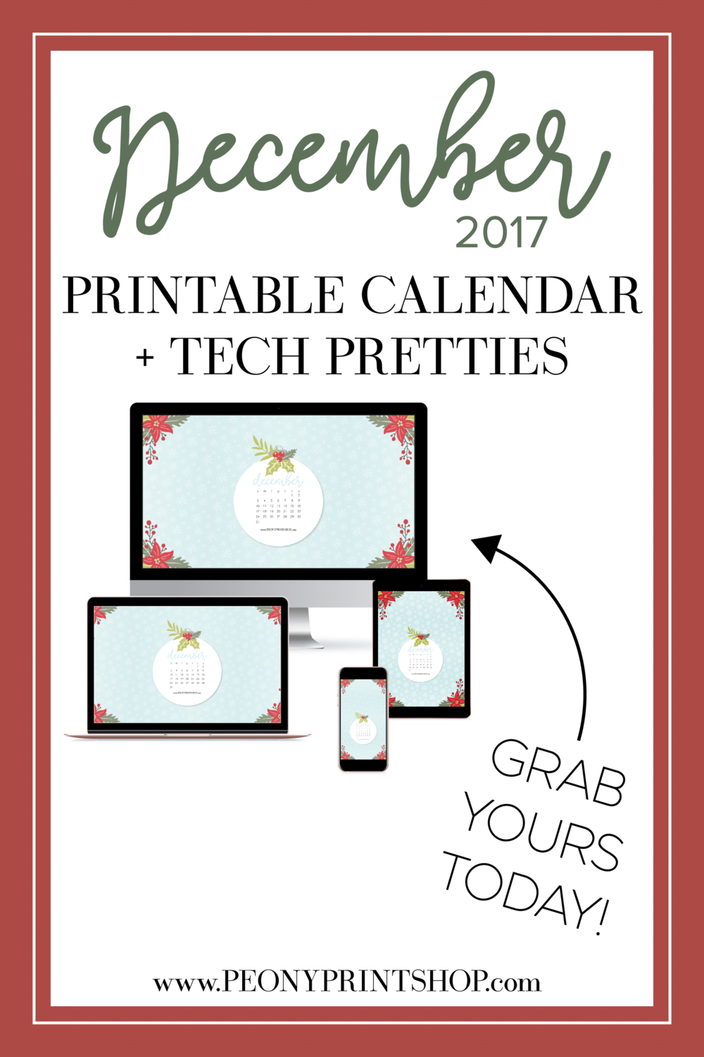 2017 December Tech Pretties |  PeonyPrintshop.com
