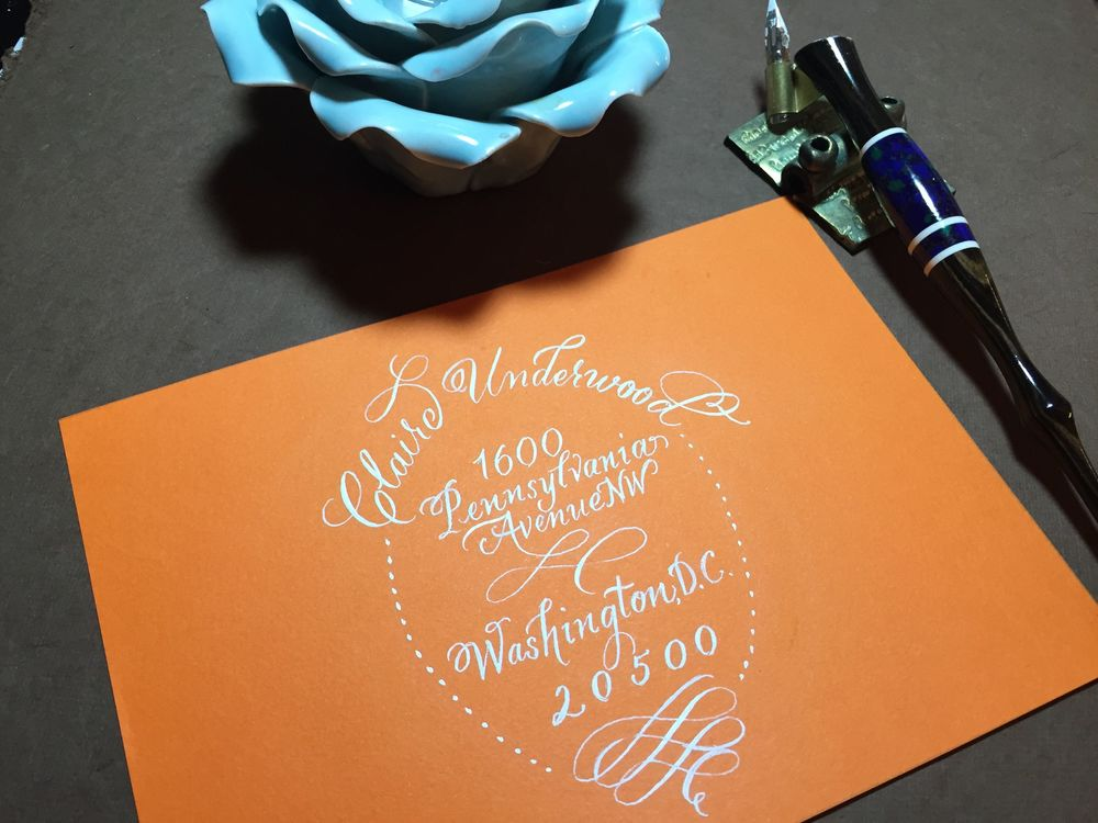 Hand calligraphy for wedding invitation