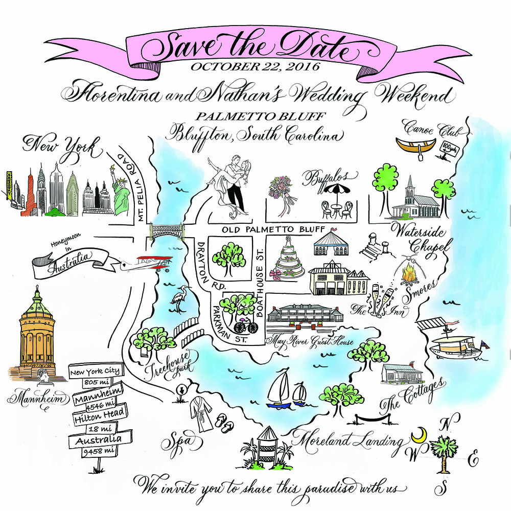 Save the Date Calligraphy Map