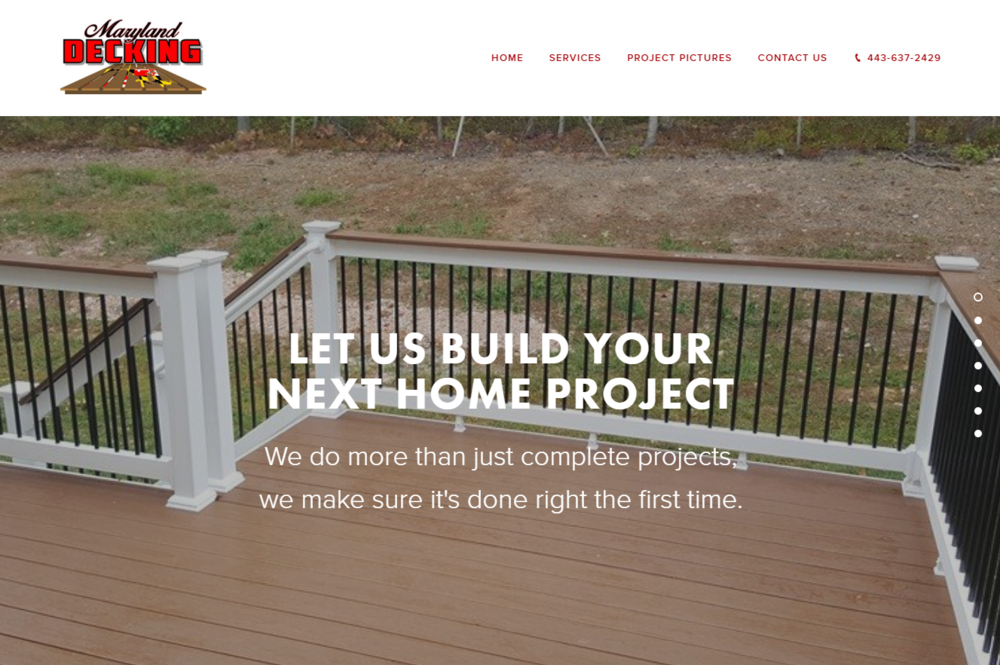 Maryland Decking web design content marketing