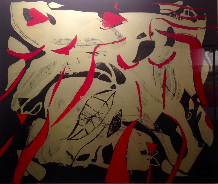 DEUX FEMMES - Cutting off the gold and black painted surface of the glass to shape the body of two women in red 60 x 70 cm . 24 x 27 in