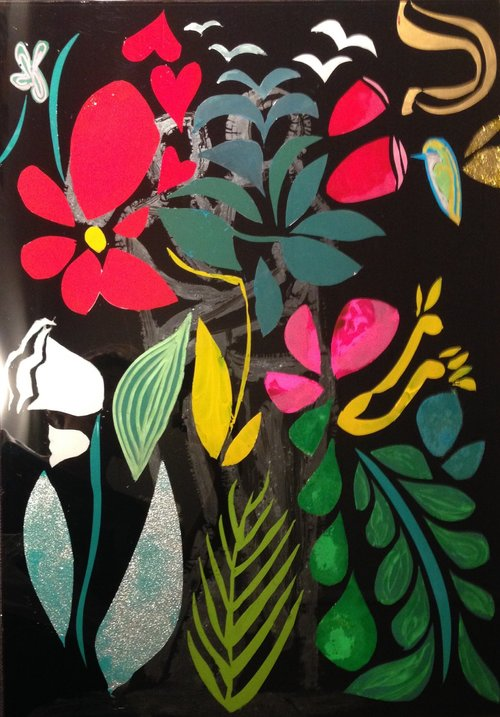 JARDIN IMAGINAIRE - Cutting off the black painted surface of the glass 40 x 48 cm . 19 x 15 in