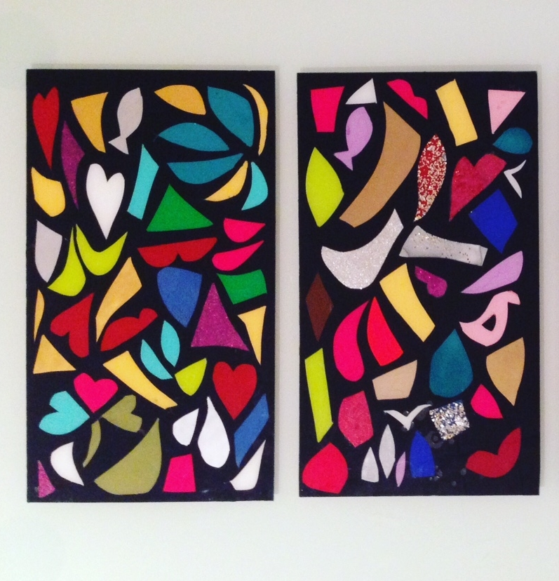 ABSTRACTION - Glass panels painted with the cutting off method 35 x 20 cm . 8 x 14 in