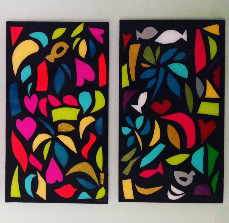 ABSTRACTION 2 - Glass panels painted with the cutting off method 35 x 20 cm . 8 x 14 in
