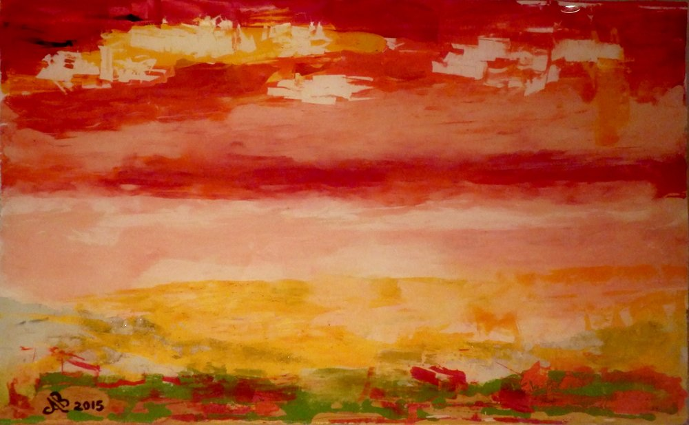 ALBERTA SUNSET - Reverse painting on tempered glass   53 x 83 cm . 21 x 33 in
