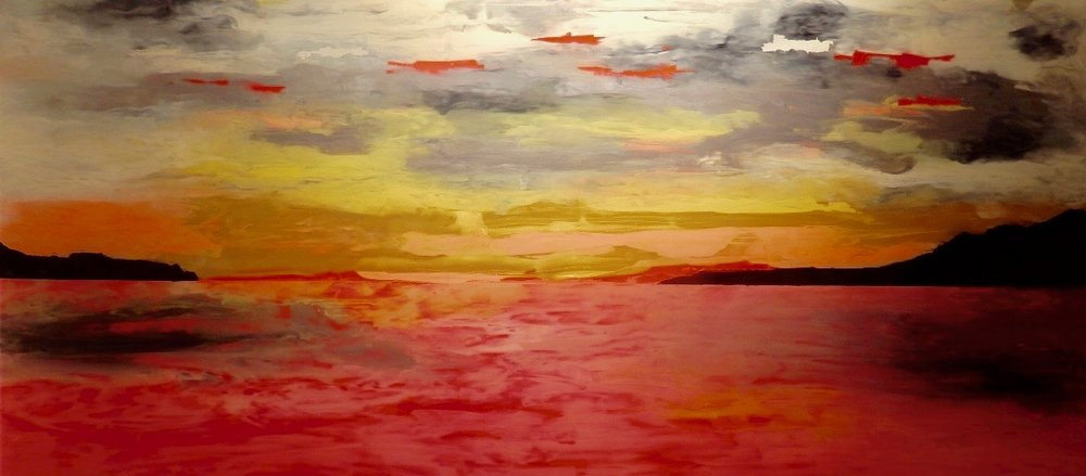 VANCOUVER SUNSET - Reverse painting on tempered glass 50 x 105 cm . 19.5 x 42 in