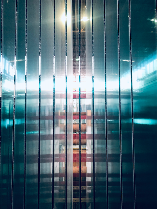 City of glass. Glass panels