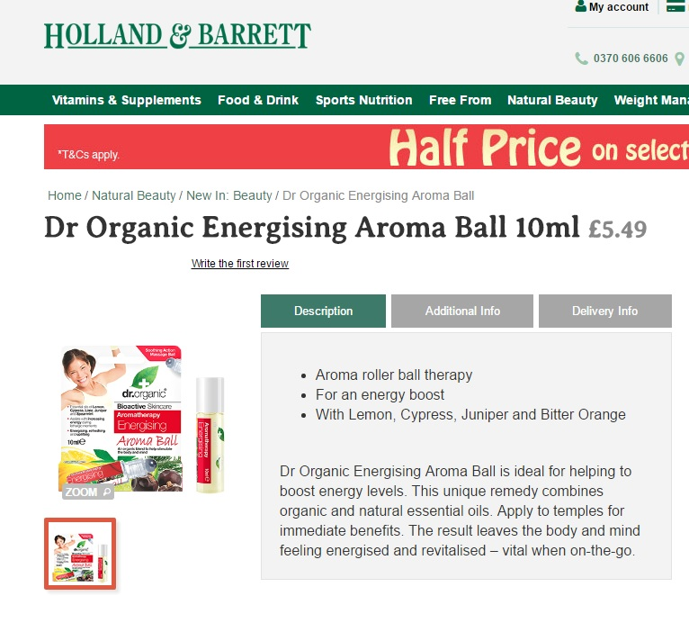 Holland & Barrett Sell Copy (Dr Organic)