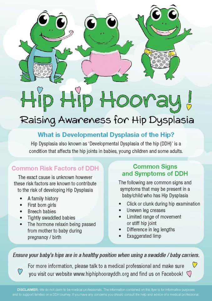 Flyer for DDH awareness created by Hip Hip Hooray