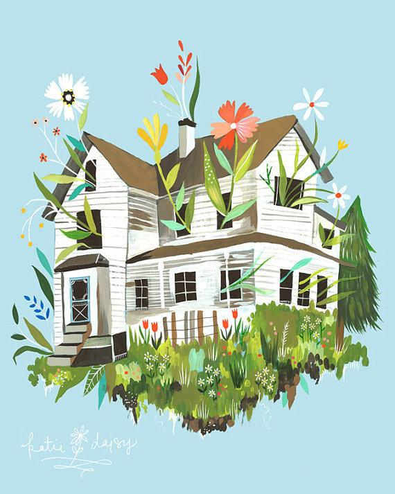 Magic Farmhouse Art Print by Katie Daisy