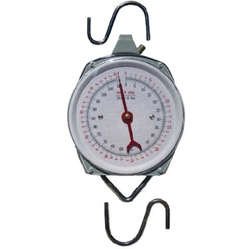 Amazon.com   $22   110 pound Hanging Spring Kitchen Dial Scale. This is made for people who hunt and fish large cuts of meats. It can also be used as a luggage scale.