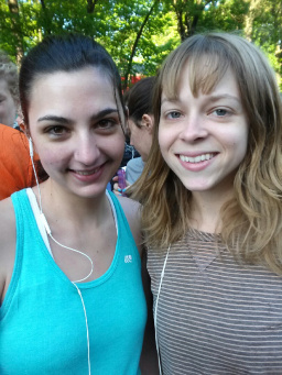 Me (L) and my friend Jess lining up for the Brooklyn Half Marathon in 2014. My first race!