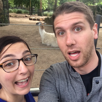Me and my husband Nick being goofy on our honeymoon at the Royal Artis Zoo in Amsterdam.