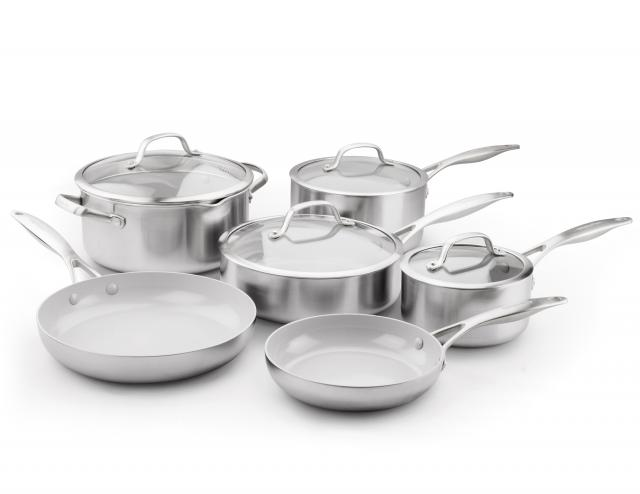 The Original GreenPan, ceramic non-stick, non-toxic cookware. These easy to clean pots and pans never release harmful fumes and are free of PFOA, PFAS, lead and cadmium. Read more about GreenPans here:  https://www.greenpan.us/why-ceramic   Check with your local Crate&Barrel for in-store pickup or order online here:  https://amzn.to/2t7feYY