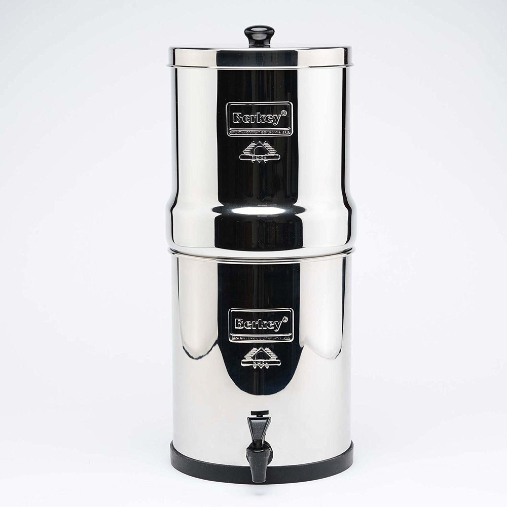 Berkey Water Filter. Choose from a variety of systems and sizes to meet your household or travel needs. Berkey water filters purify water from bacteria, viruses, chlorine, pesticides, herbicides and other harmful toxins. Read more here:  https://www.berkeywaterfilter.com/  Order the Big Berkey Countertop Water Filter System + 2 Black Berkey Elements and 2 Flouride Filters here:  https://amzn.to/2Gq3OYj
