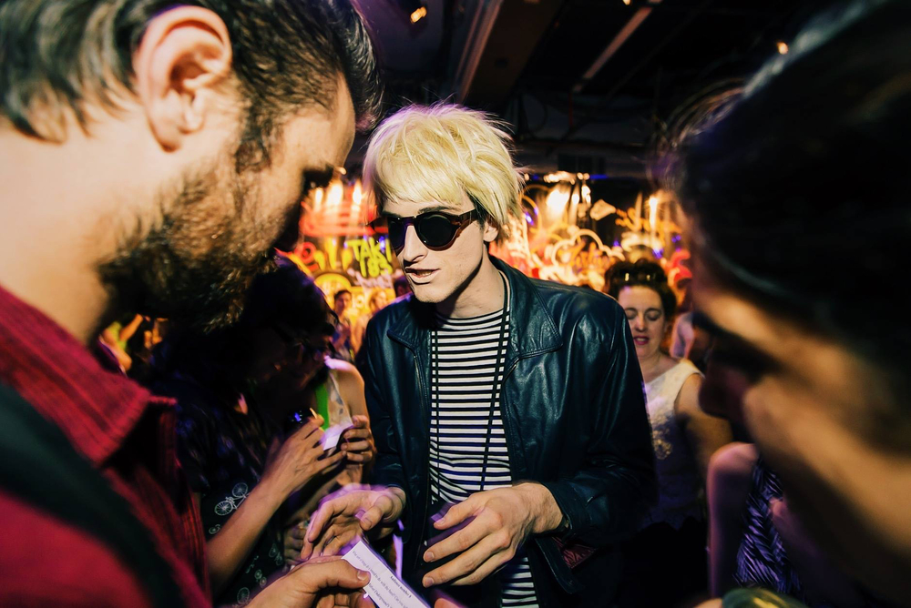 Bay plays Andy Warhol in Brooklyn Gypsies' production of  Last Night at The Palladium  at 3LD / photo: Shun Takino