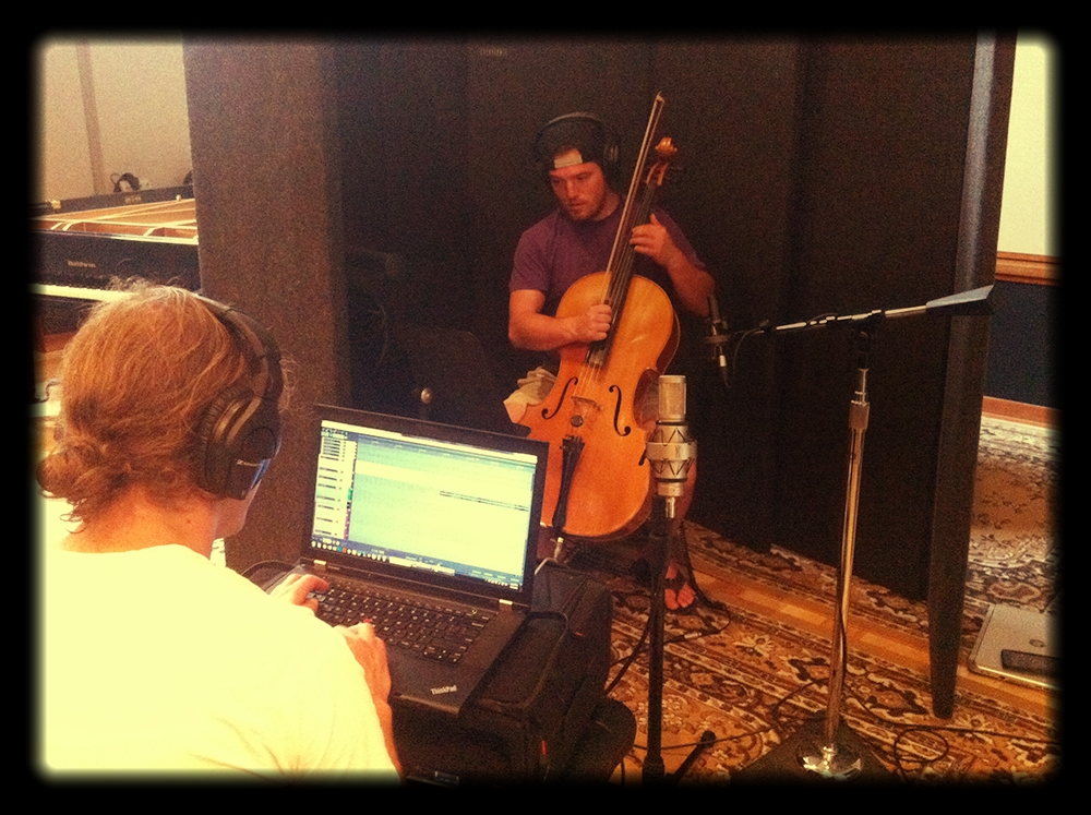 tracking Jacob Passini, who gives us heart-stirring vibrations from his cello, helping to elevate the romance and longing that our two characters foster for one another... / Mineral Sound (left), Jacob Passini (cellist, right); at Wind Over the Earth Studio, Longmont, CO / August 22, 2016