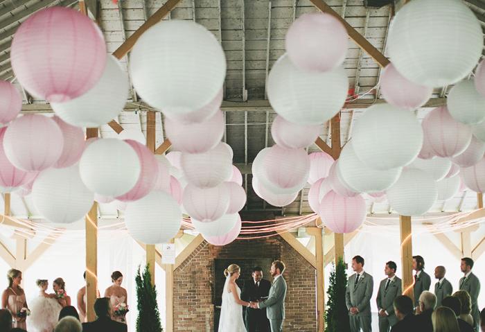 vintage wedding, paper lanterns, hanging lanters, ceremony, string lights