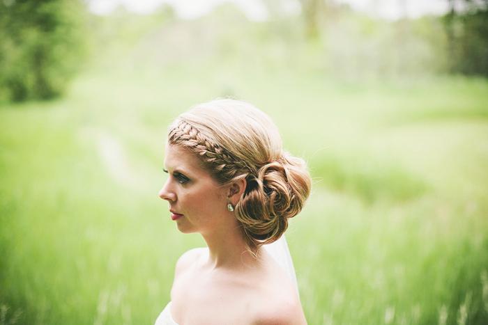 bride with braid, bride's hair, calgary wedding photographer, lethbridge wedding photographer
