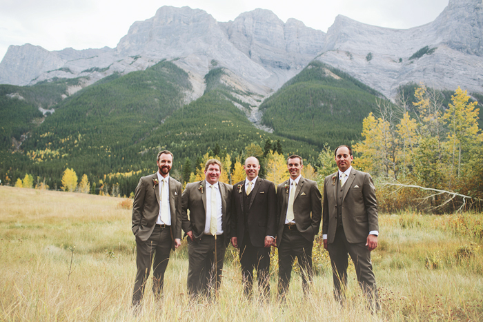 Canmore Wedding, Mountain Wedding, Rocky Mountains, Quarry Lake Wedding, Groomsmen, Brown Suits