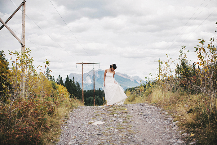 Canmore Wedding, Mountain Wedding, Bride Portrait, Fall Wedding