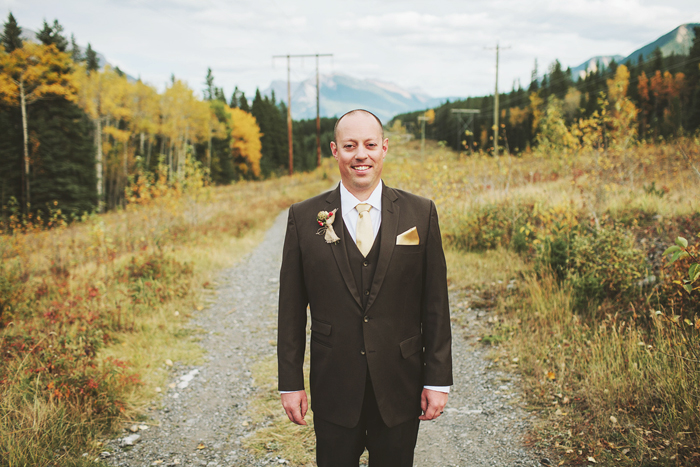 Canmore Wedding, Mountain Wedding, Groom in a brown suit, Calgary Wedding Photographer