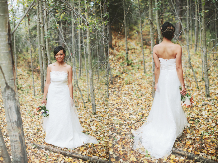 Canmore Wedding, Mountain Wedding, Bride in the Woods, Leaves, Fall Wedding