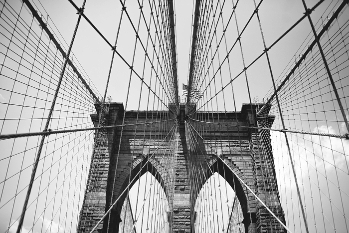 New York, Brooklyn Bridge, Black and White, New York CIty